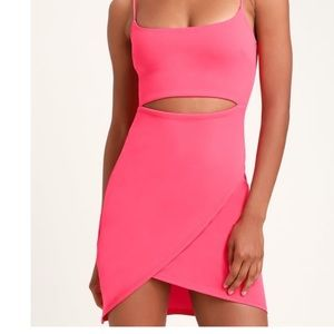 HOT PINK CUTOUT BODYCON DRESS